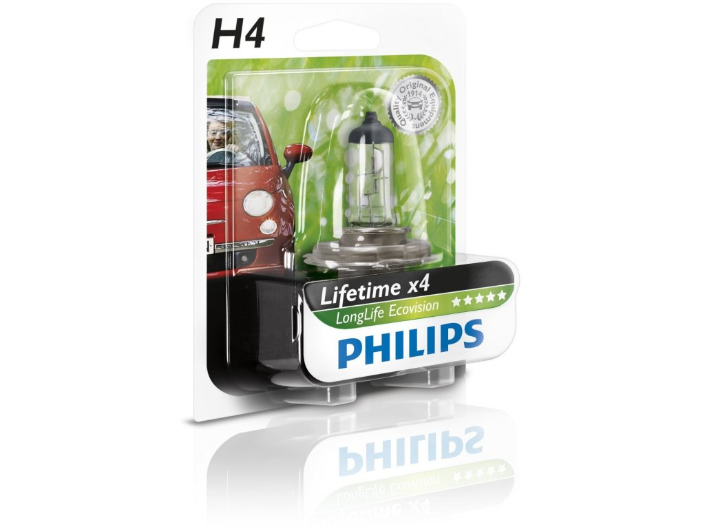 Philips 12V H4 60/55W P43T LongLife EcoVision
