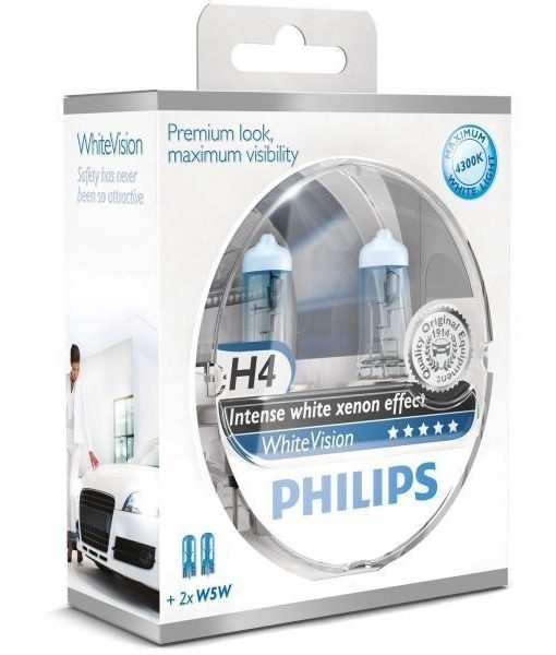 philips 12v h4 60 55w p43t w5w whitevision ultra box 1olej. Black Bedroom Furniture Sets. Home Design Ideas